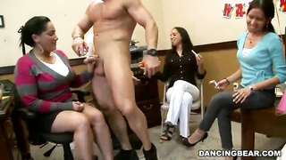 Muscular male hammering with secretaries at Dancing Bear birthday celebration Thumb