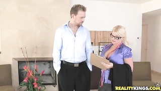 Dressed blond gurgling her client in CFNM Secret flick Thumb