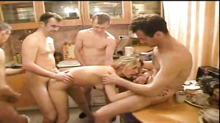 4 Russian fuckers are banging a slutty blond gf Thumb