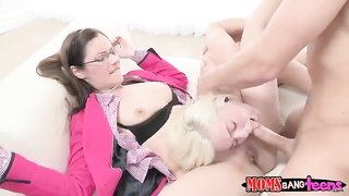 Nerdy step mommy and slutty daughter in exactly the flick by Moms Have Sex Teens Thumb