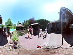 3-Way Porn - VR Group Orgy by the Pool in Public 360 Thumb