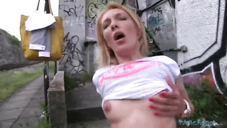 Small-tit blond is stroking her cellular even as riding his erect shaft Thumb