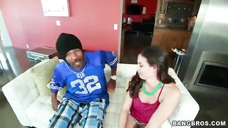 Ebony young guy is getting your mitts on an outstanding face fucking by an 18yo female Thumb