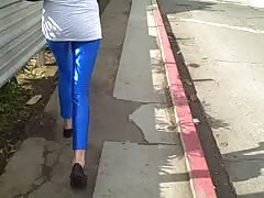 Sensual amateur girl spotted in the tight blue Spandex Thumb