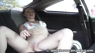 Superior as have sex with young beginner sweetheart strokes her cell-phone on exactly the backseat Thumb