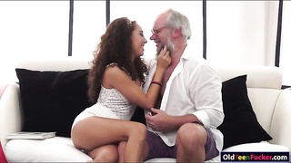 Latin Melody Petite craves for old cock Thumb