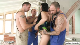 A hardcore fuck with sexy babe Aletta Ocean and four huge cocks Thumb