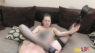 Big-ass milf in thigh-hi stockings drills with interviewer in Faux Agent UK flick Thumb