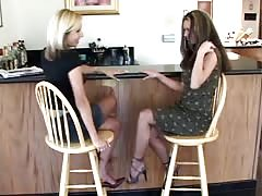 Sexy blonde is standing on the knees and licking Crissy Moran's pussy Thumb