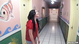 Mouth-watering dark-haired displays her genitals in exactly the street for POV porn Thumb
