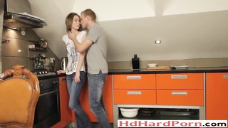 teen couple First anal sex in the kitchen Thumb
