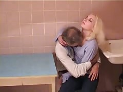 Skinny Russian slut fucked by a very old man in kitchen Thumb
