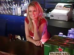 Blonde bartender Bridgett Lee is helping her client to relax Thumb