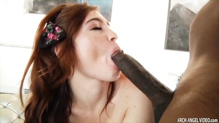 Red haired sexy babe Jodi Taylor ass riding massive monstrous black cock Thumb