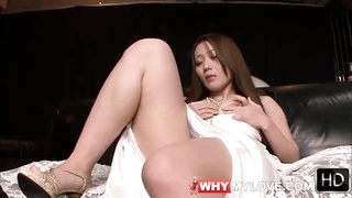 Masturbating Japanese girl in white satin wedding dress Thumb