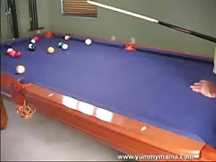 Hot sex on the billiard table with a long-legged blonde Thumb