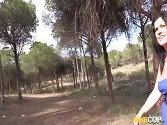 Dark-haired mom Montse takes a dick in the forest! Thumb