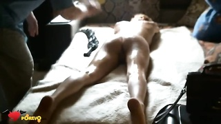 Fucker is slapping her bum and poking her cellular phone with a sex toy Thumb