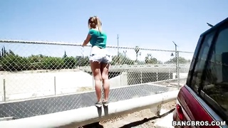Vibrant young streetwalker is posing outdoors in precisely the flick by Sphincter Parade studio Thumb