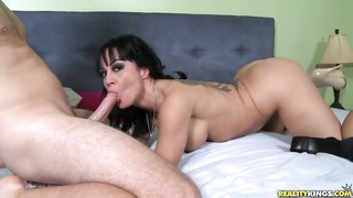 Huge-chested mommy is lying on precisely the bed and suck a shaft Thumb