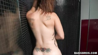Slut with sexy inked ass hole posing in hit the showers in front webcam Thumb