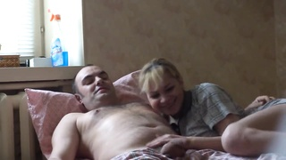 Fat blond gets on all fours down and takes a peckers in her lips Thumb