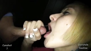 Delightful short-haired blond is throating a large penis in precisely the close-up Thumb