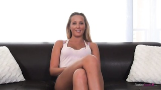 Tanned blond demonstrating her good get it on with pose on table Thumb