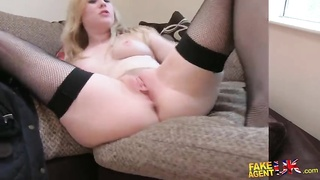 Blond in ebony thigh-hi stockings nailing doggy style by interviewer Thumb