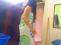 Indian bhabhi bathing and washing her pussy with soap Thumb