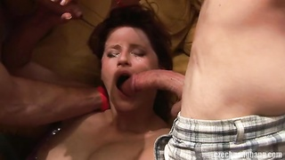 Bitchy cock sucking dark-haired is being double penetrated! Thumb