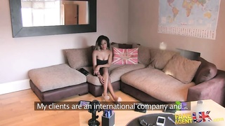 Tricked black spreading her stems in front white interviewer Thumb