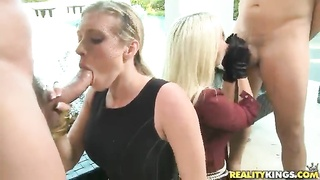 Dick-sucking hotties demonstrating their advanced oral talents Thumb