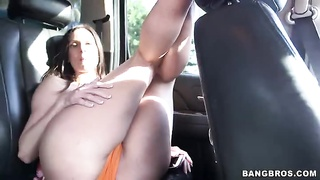 She is arching over to blow his penis in exactly the flick by Booty Parade studio Thumb
