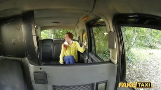 Redhead chick provides a head correct in exactly the Pretend Taxi Thumb