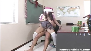 Bitchy dark-haired schoolgirl will get nailed by her ebony instructor Thumb