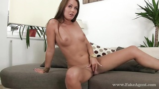 Slender young woman is spreading her stems and jumping on a boner Thumb