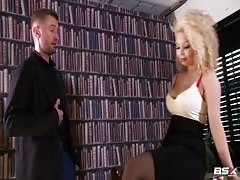Babe Station X blonde enjoys his boner in the library Thumb