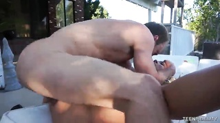 Fairly slutty blond having fun with bitchy outdoor sex with her recent fucker Thumb