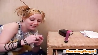 Vibrator in precisely the crevices of a young blondy who experiments on webcam Thumb