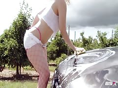 Stunning Babe Station X car wash featuring a busty girl Thumb
