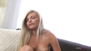 Petite blond is playing with her muff in precisely the Audition Sofa X studio Thumb