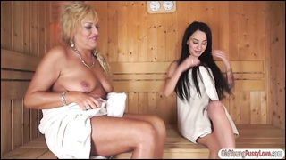 Sandra Luberc naked in sauna with granny Thumb