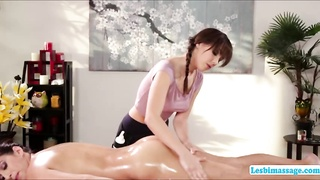 Sexy April and Jenna in a very wild lesbian fuck at the massage table Thumb
