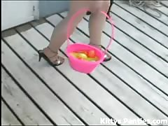 Cute teen Kitty hunting for Easter Eggs Thumb