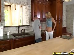 Very hot milf is getting seduced right in the kitchen Thumb