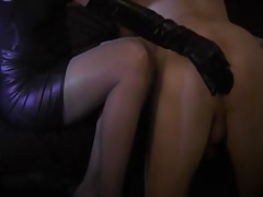 nice woman insert anal dildo like mistress in stocking Thumb