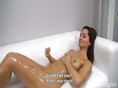 Skinny tanned model getting fucked for a first time at casting Thumb