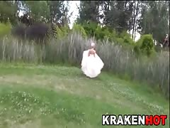 Hard Bride having fun outdoor. Public submission BDSM Thumb