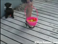 Kitty flashing her panties hunting for Easter eggs Thumb